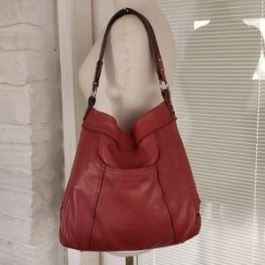 B Makowsky Deep Red Leather Hobo Bag